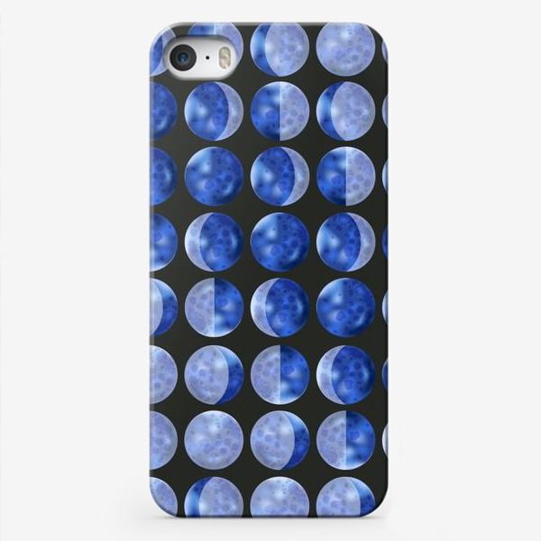 Чехол iPhone «Фазы луны на черном»