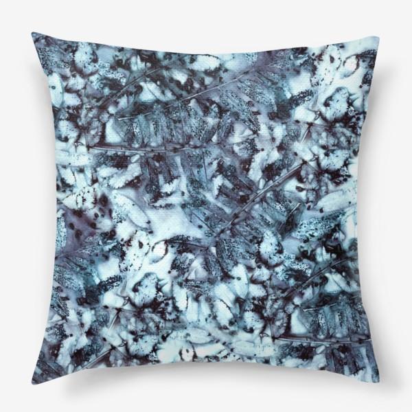 Подушка «Осенняя графика (синий)»