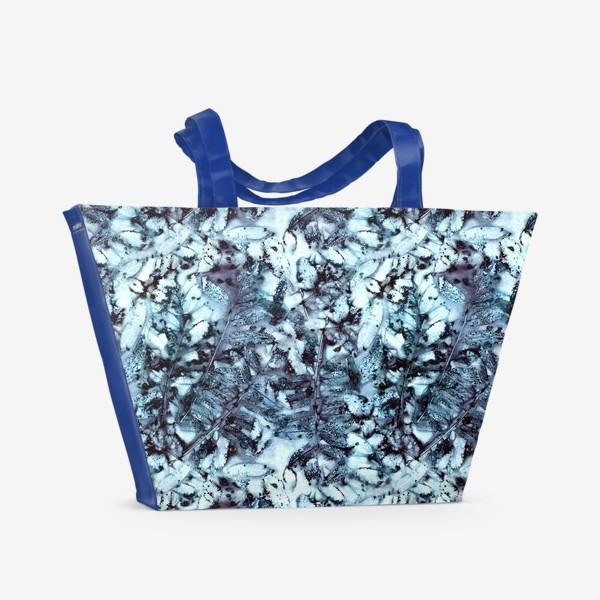 Пляжная сумка «Осенняя графика (синий)»