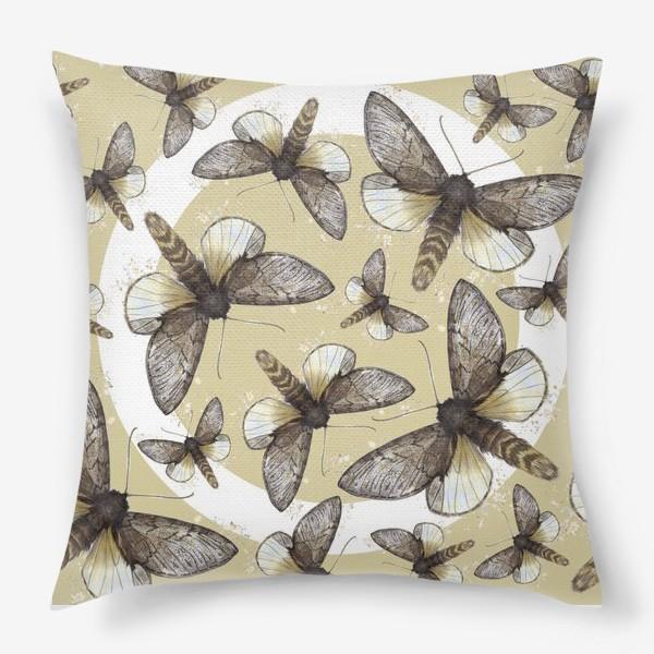 Подушка «Мотыльки сепия»