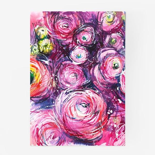 Постер «большой розовый букет лютиков, ранункулюсы, акварельная живопись»