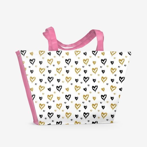 Пляжная сумка «Pattern design with hearts»