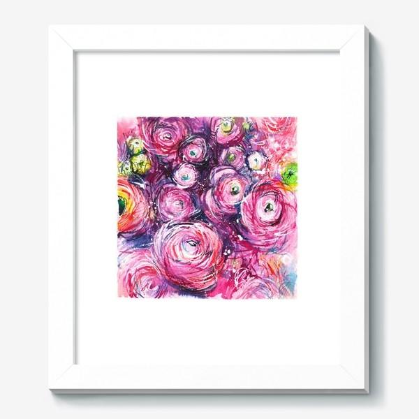 Картина «большой розовый букет лютиков, ранункулюсы, акварельная живопись»