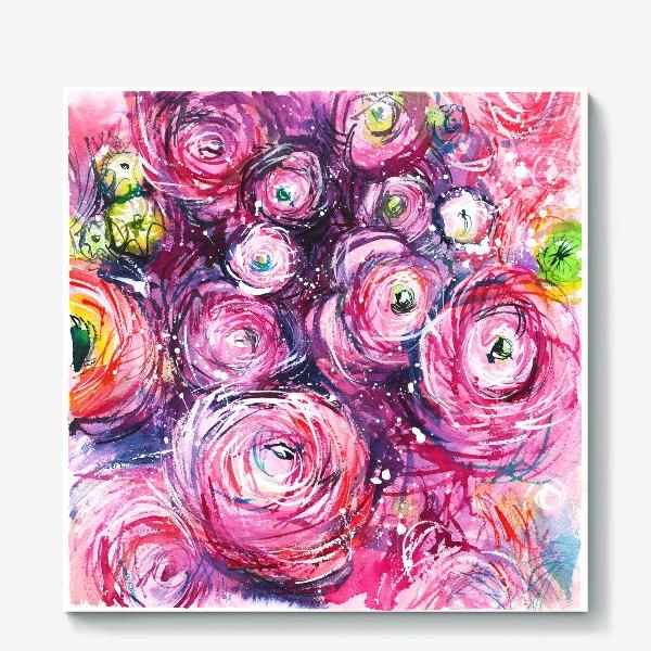 Холст «большой розовый букет лютиков, ранункулюсы, акварельная живопись»