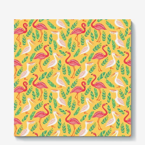 Холст «Пеликаны, фламинго, тропические листья на желтом фоне. »