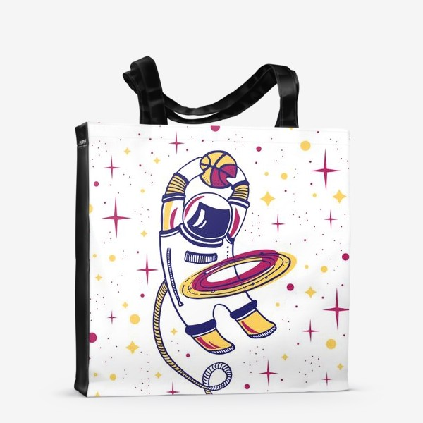 Сумка-шоппер «Космонавт играет в баскетбол в космосе»