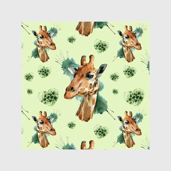 Шторы «зеленый паттерн с жирафами»