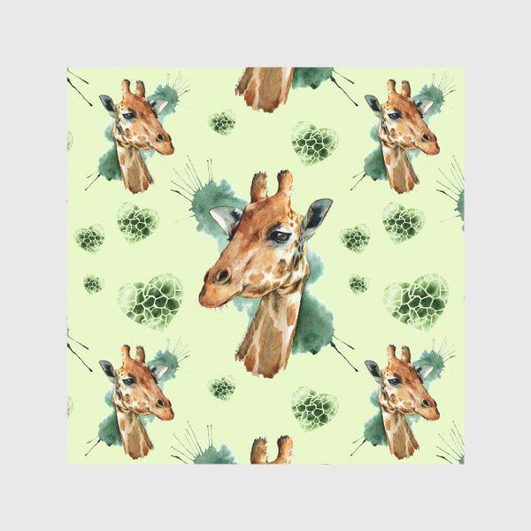 Скатерть «зеленый паттерн с жирафами»