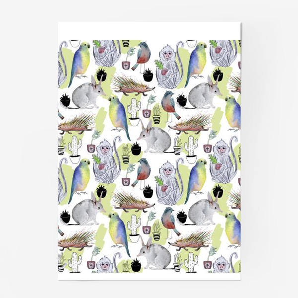 Постер «обезьяна билби кактус попугай паттерн»