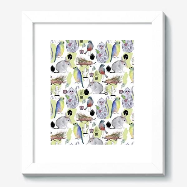 Картина «обезьяна билби кактус попугай паттерн»