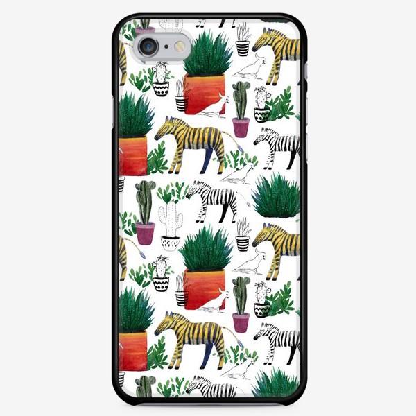 Чехол iPhone «Зебры и кактусы»