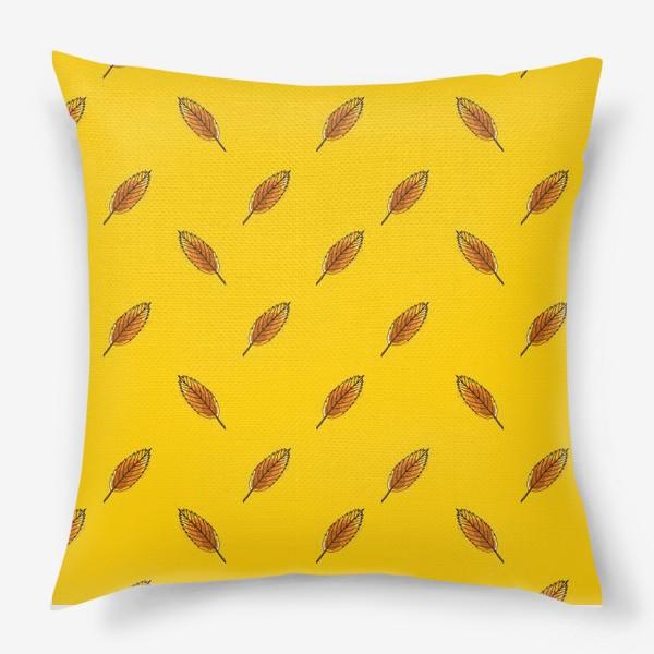 Подушка «Листья рябины на желтом фоне»