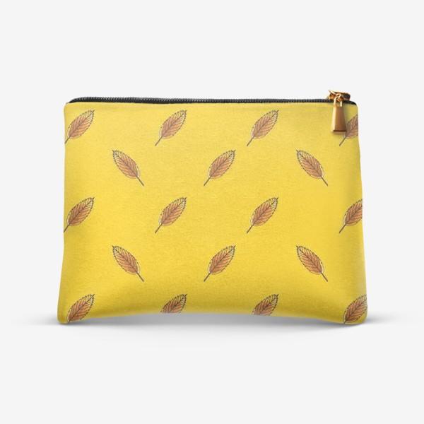 Косметичка «Листья рябины на желтом фоне»