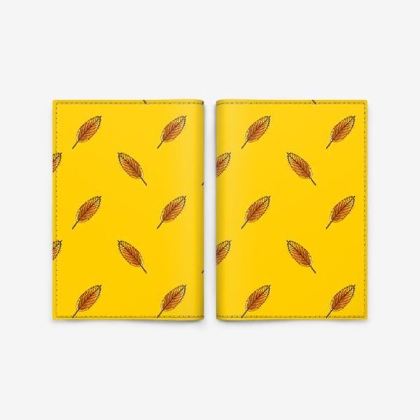 Обложка для паспорта «Листья рябины на желтом фоне»