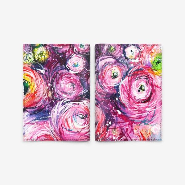 Обложка для паспорта «большой розовый букет лютиков, ранункулюсы, акварельная живопись»