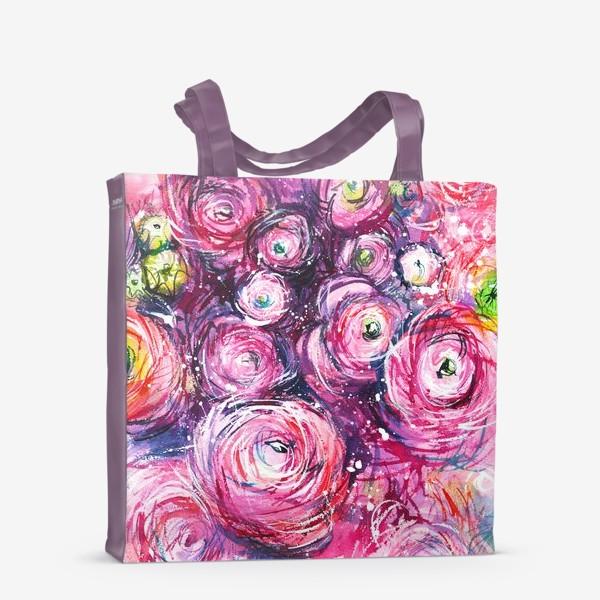 Сумка-шоппер «большой розовый букет лютиков, ранункулюсы, акварельная живопись»