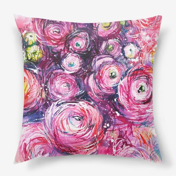Подушка «большой розовый букет лютиков, ранункулюсы, акварельная живопись»