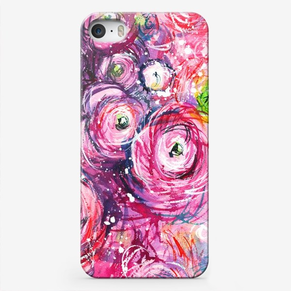 Чехол iPhone «большой розовый букет лютиков, ранункулюсы, акварельная живопись»