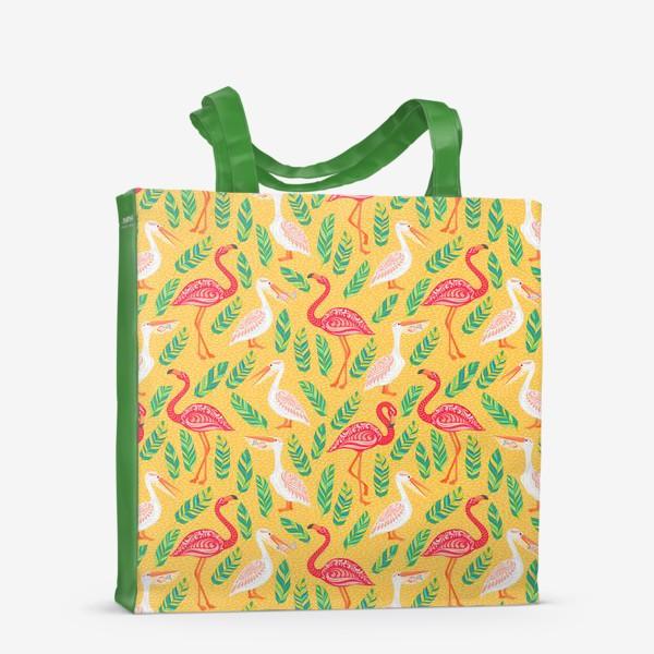 Сумка-шоппер «Пеликаны, фламинго, тропические листья на желтом фоне. »