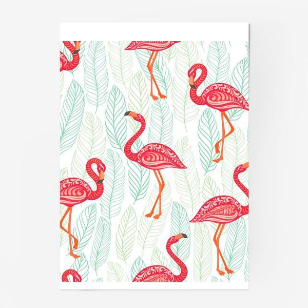Постер «Розовые фламинго с орнаментами на фоне листьев. Бесшовный паттерн.»
