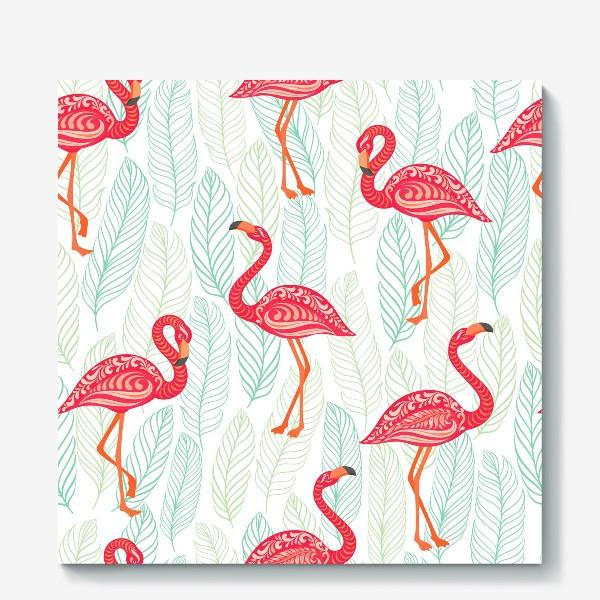 Холст «Розовые фламинго с орнаментами на фоне листьев. Бесшовный паттерн.»
