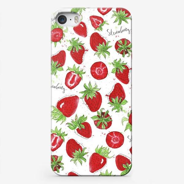 Чехол iPhone «Спелая акварельная клубника»