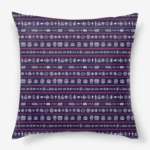 Подушка «Паттерн с племенными узорами»