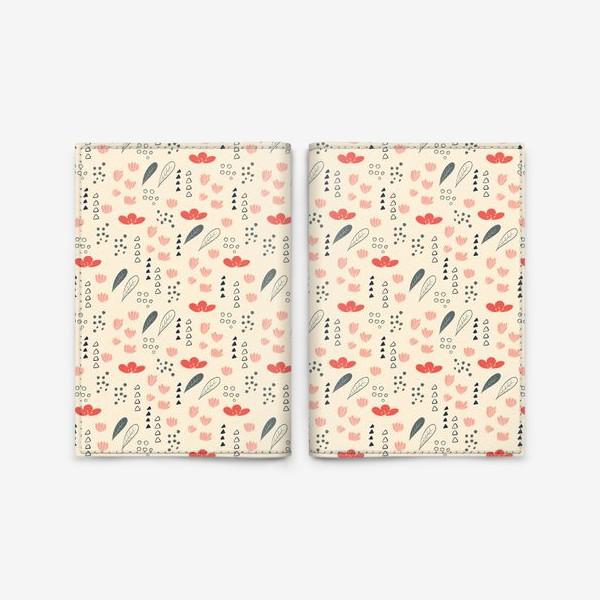 Обложка для паспорта «Паттерн с цветочными элементами»