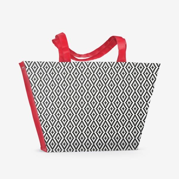 Пляжная сумка «Чёрно-белые ромбы»