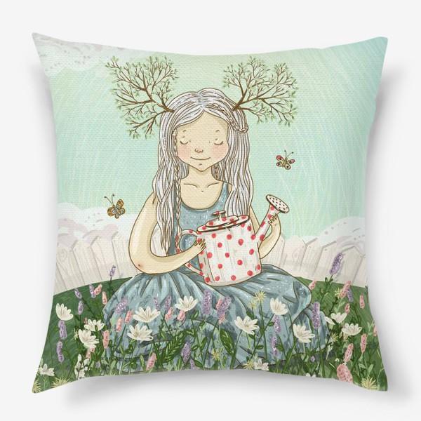 Подушка «Девушка сидит среди цветов в саду с лейкой»