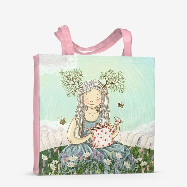 Сумка-шоппер «Девушка сидит среди цветов в саду с лейкой»