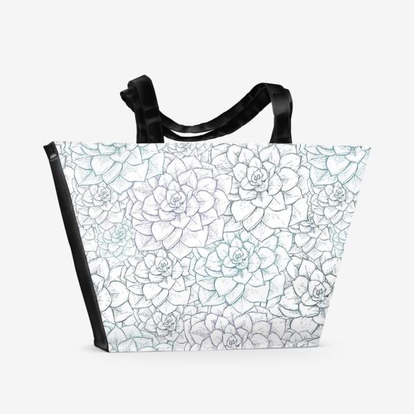 Пляжная сумка «Паттерн из сукулентов»