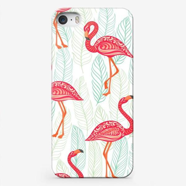 Чехол iPhone «Розовые фламинго с орнаментами на фоне листьев. Бесшовный паттерн.»