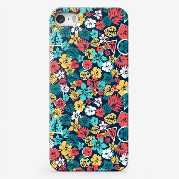 Чехол iPhone «Tropic flowers Тропические цветы паттерн лето»