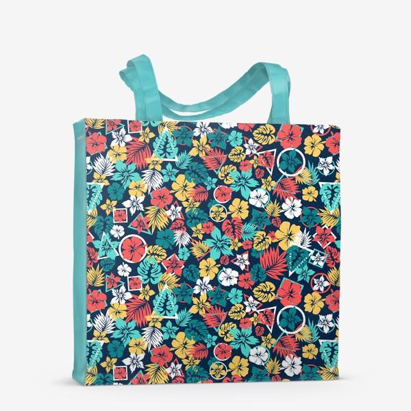 Сумка-шоппер «Tropic flowers Тропические цветы паттерн лето»