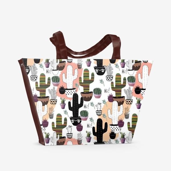 Пляжная сумка «Кактусы паттерн»