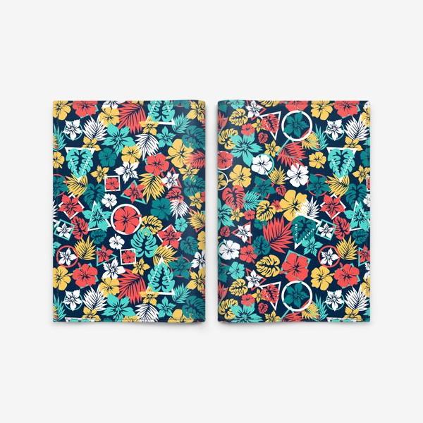 Обложка для паспорта «Tropic flowers Тропические цветы паттерн лето»