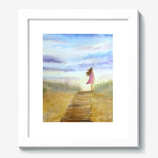 """Картина «""""Путь к себе"""". (Девушка идущая по пляжу на фоне заката). Картина акварель. Лето, море, отдых »"""