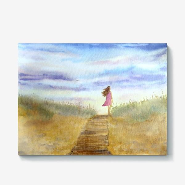 """Холст «""""Путь к себе"""". (Девушка идущая по пляжу на фоне заката). Картина акварель. Лето, море, отдых »"""
