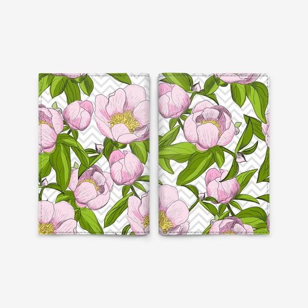 """Обложка для паспорта «Розовые пионы с листьями на фоне """"зигзаг""""»"""