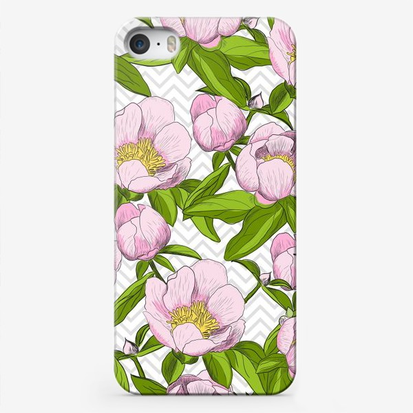 """Чехол iPhone «Розовые пионы с листьями на фоне """"зигзаг""""»"""