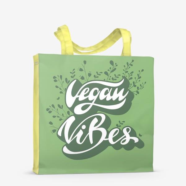Сумка-шоппер «Vegan vibes lettering design»