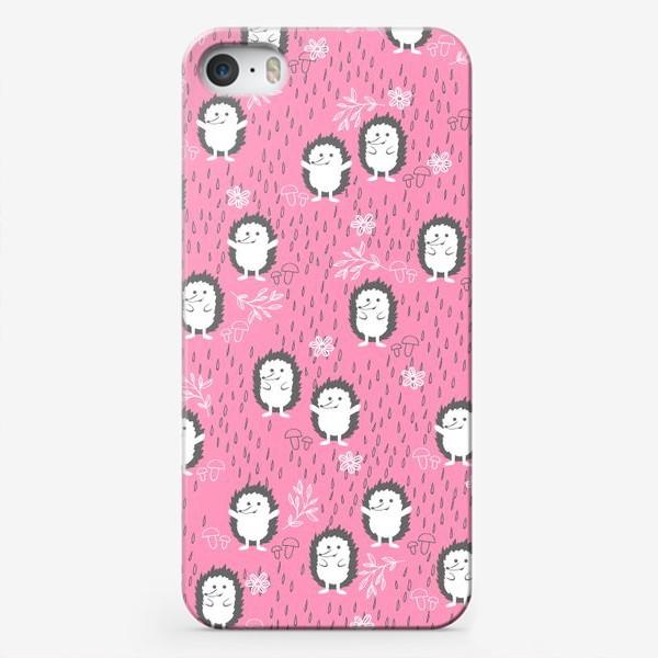 Чехол iPhone «Ежики гуляют под дождем»
