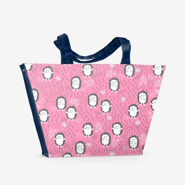 Пляжная сумка «Ежики гуляют под дождем»