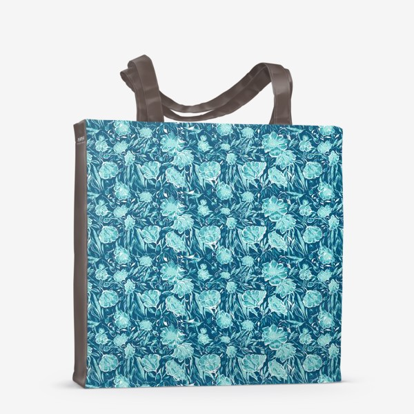 Сумка-шоппер «Flowers Бирюзовые цветы паттерн»