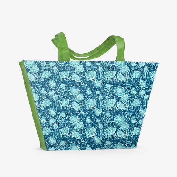 Пляжная сумка «Flowers Бирюзовые цветы паттерн»