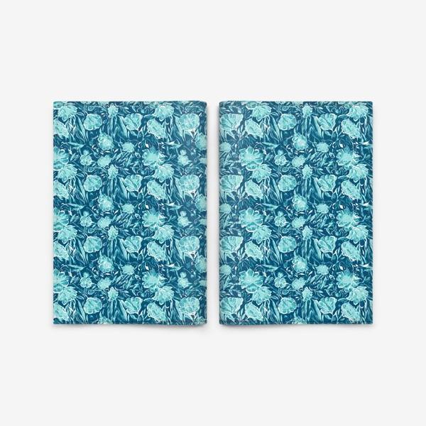 Обложка для паспорта «Flowers Бирюзовые цветы паттерн»