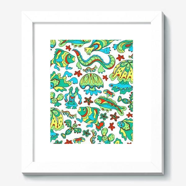 Картина «Фантастические морские существа. Бесшовный паттерн.»