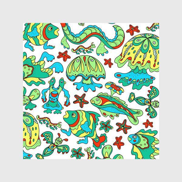 Шторы «Фантастические морские существа. Бесшовный паттерн.»