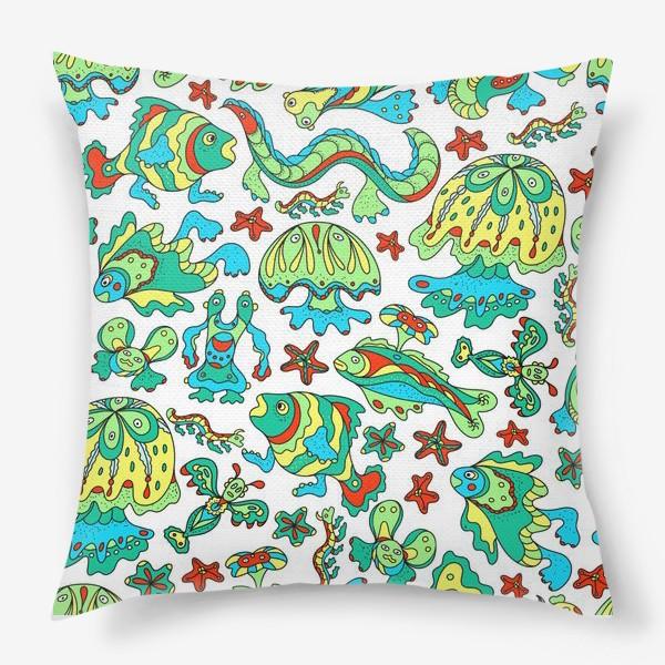 Подушка «Фантастические морские существа. Бесшовный паттерн.»